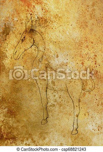 Criatura de caballo de fantasía, dibujo de lápiz y efecto de color. - csp68821243