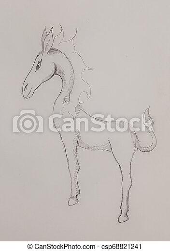 Criatura de caballo de fantasía, dibujo de lápiz sobre fondo abstracto - csp68821241