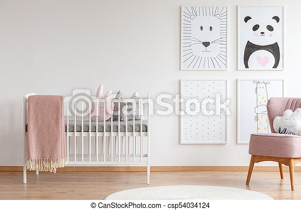 Crib in baby room - csp54034124
