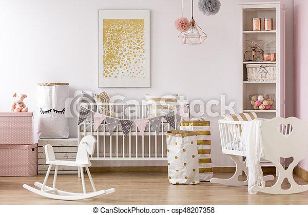 Poster Babykamer Pastel : Crib nook with golden dots poster. bright crib nook with golden dots