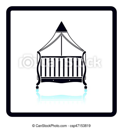 Crib With Canopy Icon Vector  sc 1 st  Can Stock Photo & Crib with canopy icon. Shadow reflection design. Vector... vector ...