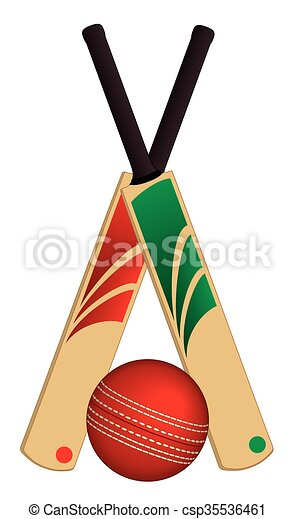 Cricket ball and 2 bats crossed - csp35536461