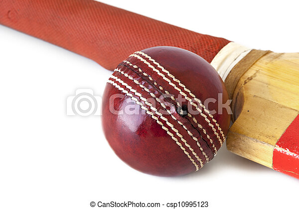 Cricket Ball and Bat over White - csp10995123