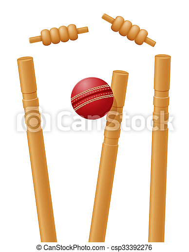 cricket ball caught in the wicket illustration - csp33392276