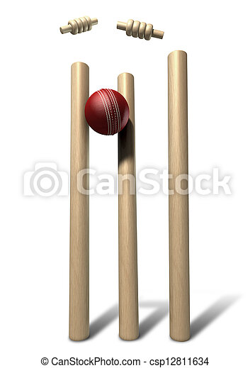 Cricket Ball Hitting Wickets Front Isolated - csp12811634