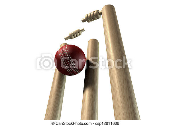 Cricket Ball Hitting Wickets Perspective Isolated - csp12811608