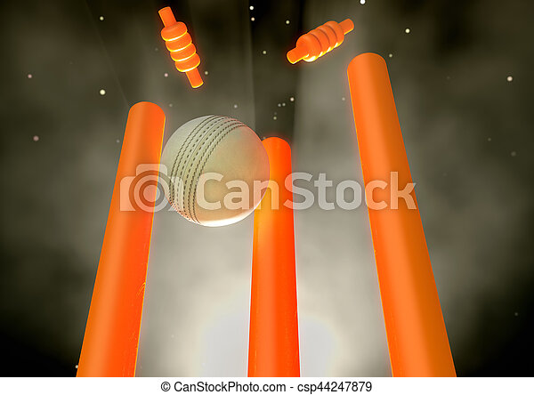Cricket Ball Hitting Wickets - csp44247879