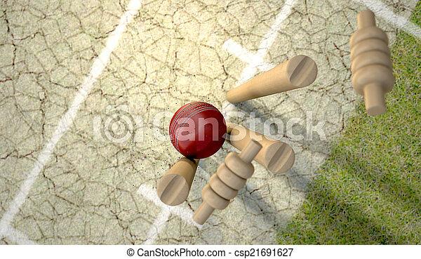 Cricket Ball Hitting Wickets - csp21691627