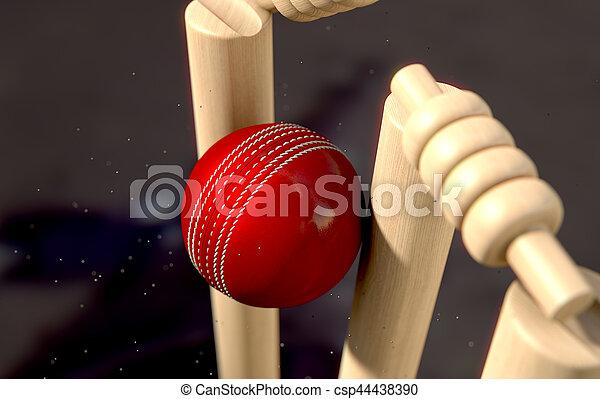 Cricket Ball Hitting Wickets - csp44438390