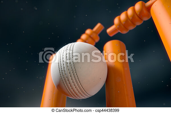 Cricket Ball Hitting Wickets - csp44438399