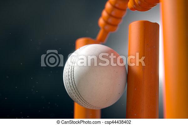 Cricket Ball Hitting Wickets - csp44438402