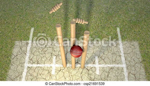 Cricket Ball Hitting Wickets - csp21691539