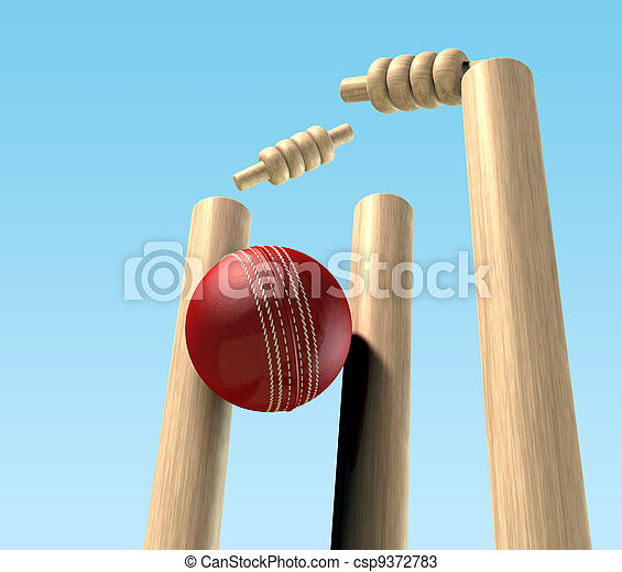 Cricket Ball Hitting Wickets - csp9372783