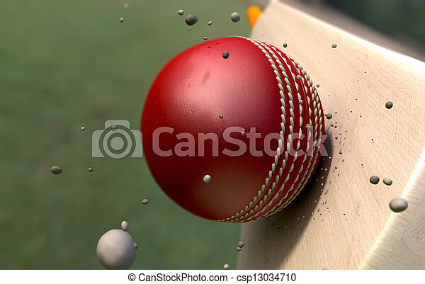 Cricket Ball Striking Bat With Particles - csp13034710