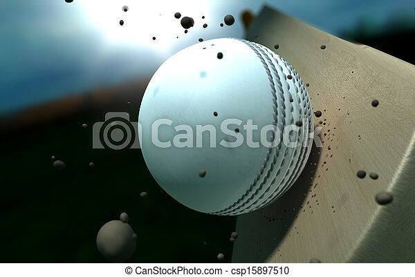 Cricket Ball Striking Bat With Particles At Night - csp15897510