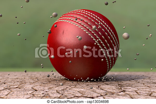 Cricket Ball Striking Ground With Particles - csp13034698