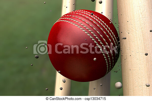 Cricket Ball Striking Wickets With Particles - csp13034715