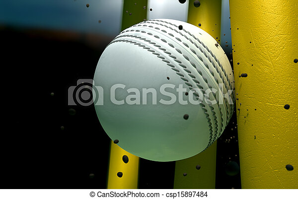 Cricket Ball Striking Wickets With Particles At Night - csp15897484
