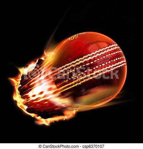 cricket ball through flames - csp6370107