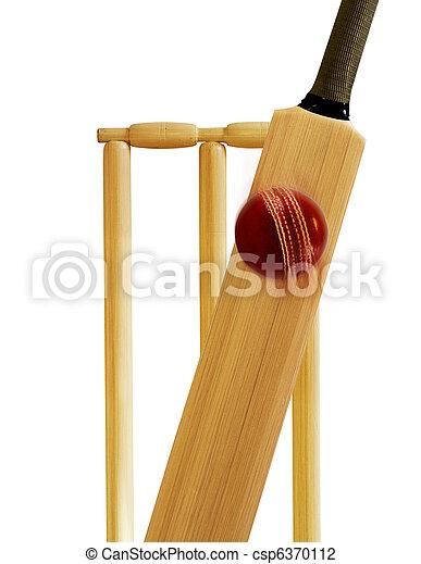 cricket bat and cricket ball - csp6370112