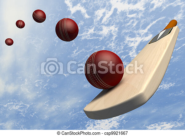 Cricket Bat With Ball Flight Path - csp9921667