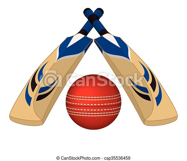 Cricket bats crossed with ball - csp35536459
