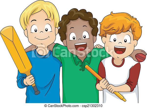 cricket boys illustration featuring a group of boys ready vector rh canstockphoto com