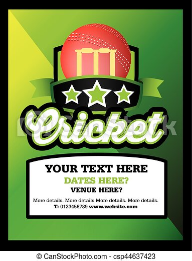 cricket club event or match advert style poster csp44637423