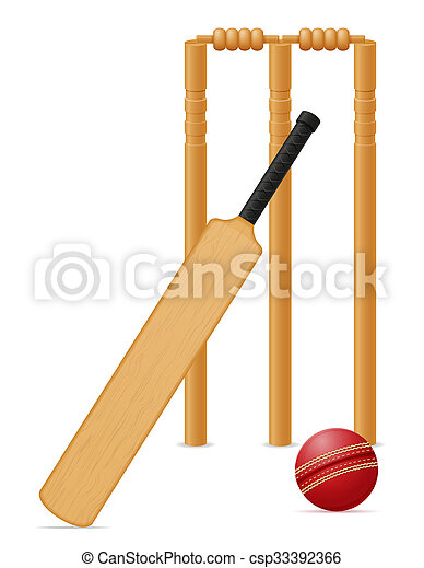 cricket equipment bat ball and wicket illustration - csp33392366