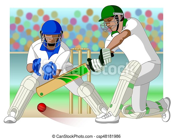 cricket game with batsman and wicket-keeper - csp48181986
