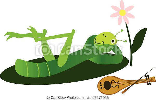 Cricket on a green leaf with violin - csp26871915