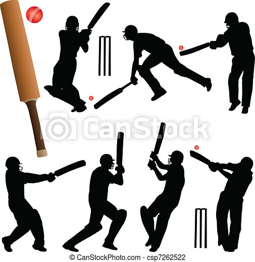 Cricket players Royalty Free Vector Clip Art illustration  -peop0997-CoolCLIPS.com