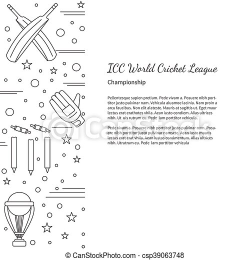 Cricket Sport Game Graphic Design Concept Flyer Poster With - Game concept template