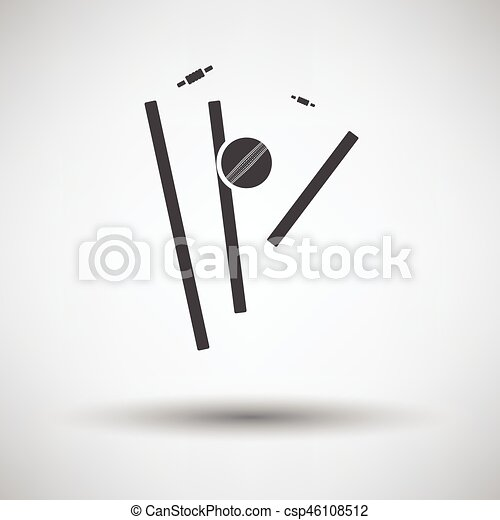 Cricket Wicket Icon On Gray Background Round Shadow Vector
