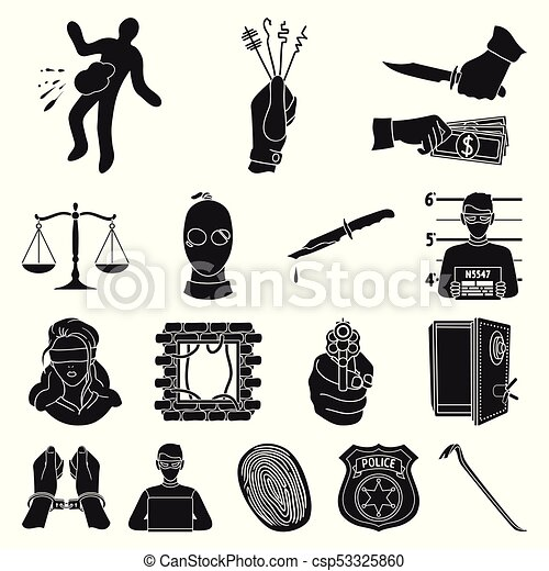 Crime And Punishment Black Icons In Set Collection For Clip Art