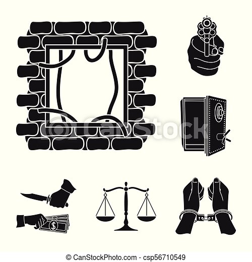 Crime And Punishment Black Icons In Set Collection For Eps Vector