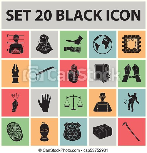 Crime And Punishment Black Icons In Set Collection For Vector