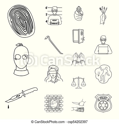 Crime And Punishment Outline Icons In Set Collection For Eps