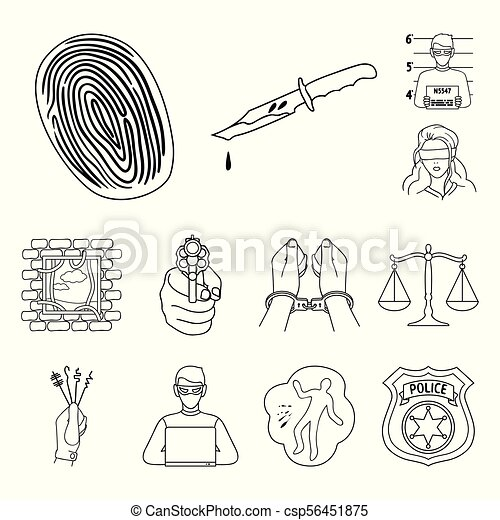 Crime And Punishment Outline Icons In Set Collection For Vectors