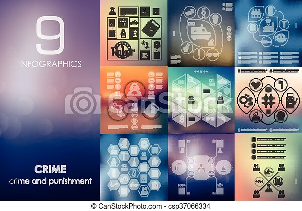 crime infographic with unfocused background - csp37066334