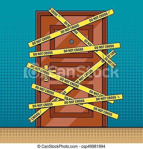 Crime scene door outline pop art vector - csp49981994
