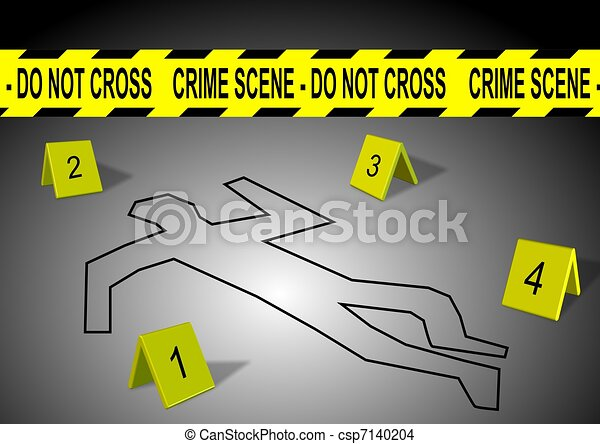 crime scene a body outline with crime scene tape and numbers rh canstockphoto com Crime Scene Investigation Clip Art crime scene investigation clipart