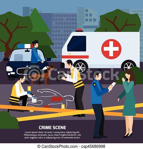 Crime Scene Flat Style Illustration - csp45686998