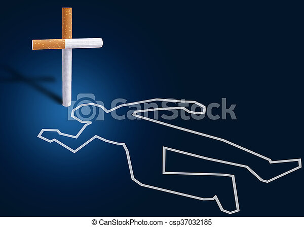 Crime scene - man killed by cigarettes - csp37032185