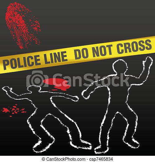 Crime scene tape corpse chalk outline - csp7465834