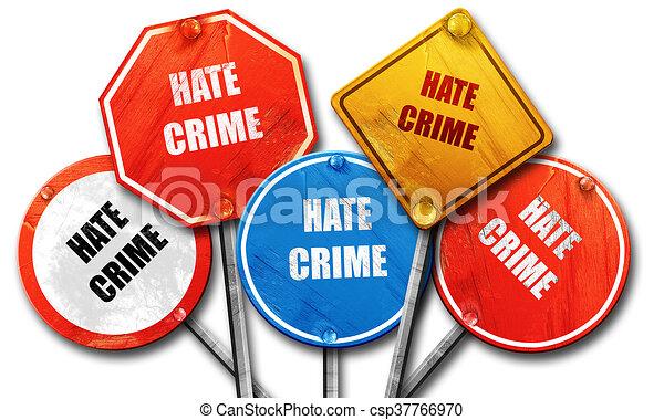 Antecedentes de crimen de odio, representación en 3D, recolección de carteles en la calle - csp37766970