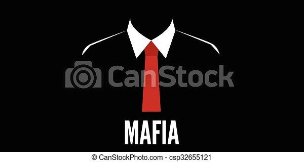 Hombre de la mafia silueta corbata roja del crimen - csp32655121
