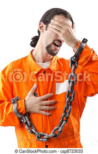 Criminal in orange robe in prison - csp8723033