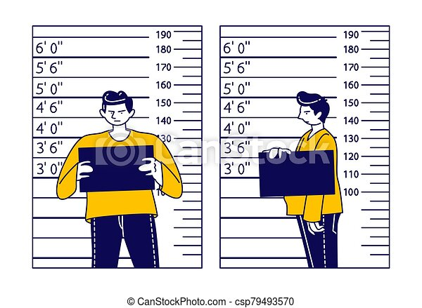 Criminal Male Character Stand on Measuring Scale Background with Mug Shot Plate in Hands in Police Station. Arrested Man Gangster Posing for Identification Mugshot Photo. Linear Vector Illustration - csp79493570