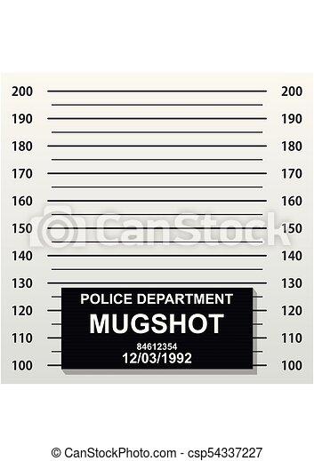 Criminal mug shot line. Police mugshot add a photo. Blank criminal police lineup with centimeter scale for photograph. Vector illustration - csp54337227
